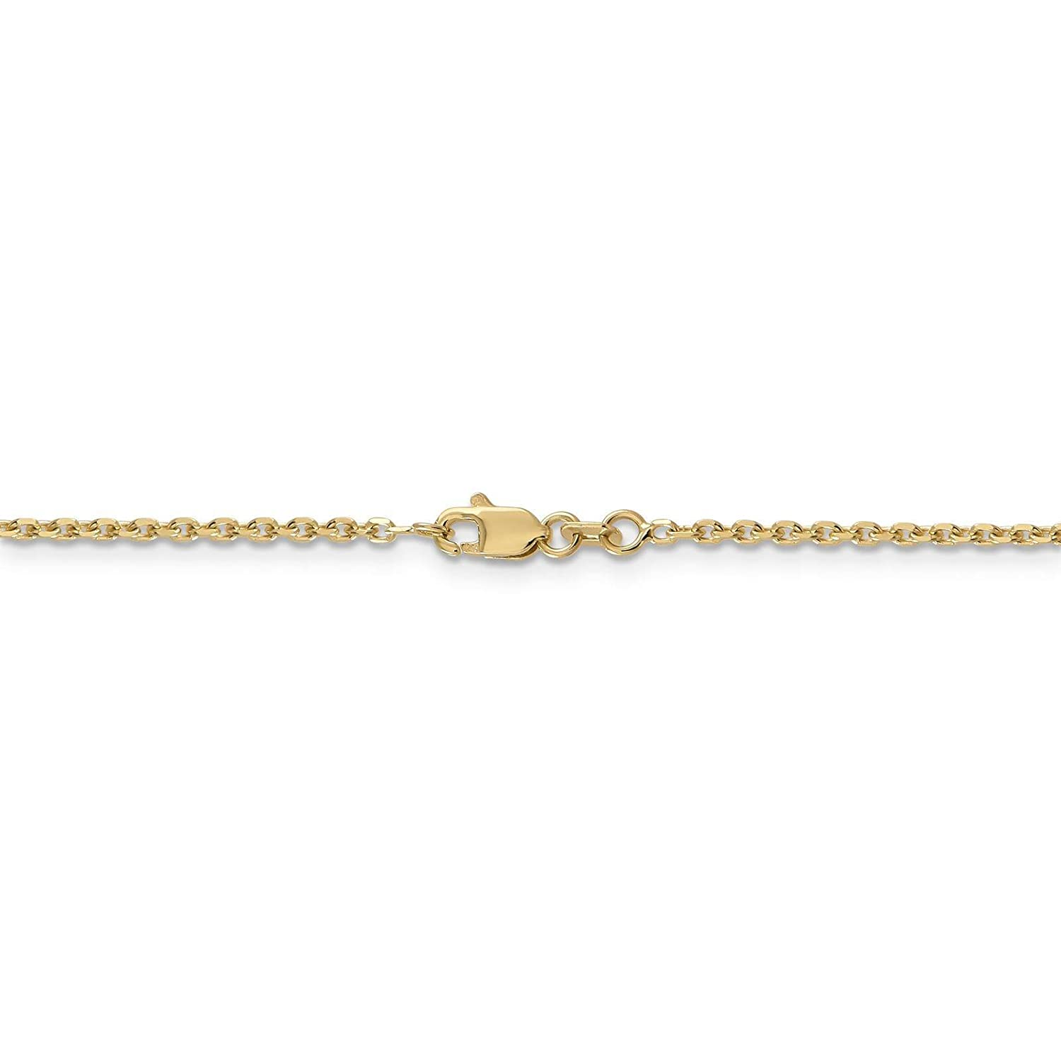 14k Yellow Gold 1.6mm Diamond-Cut Cable Link Chain Necklace Bracelet Anklet 9-30