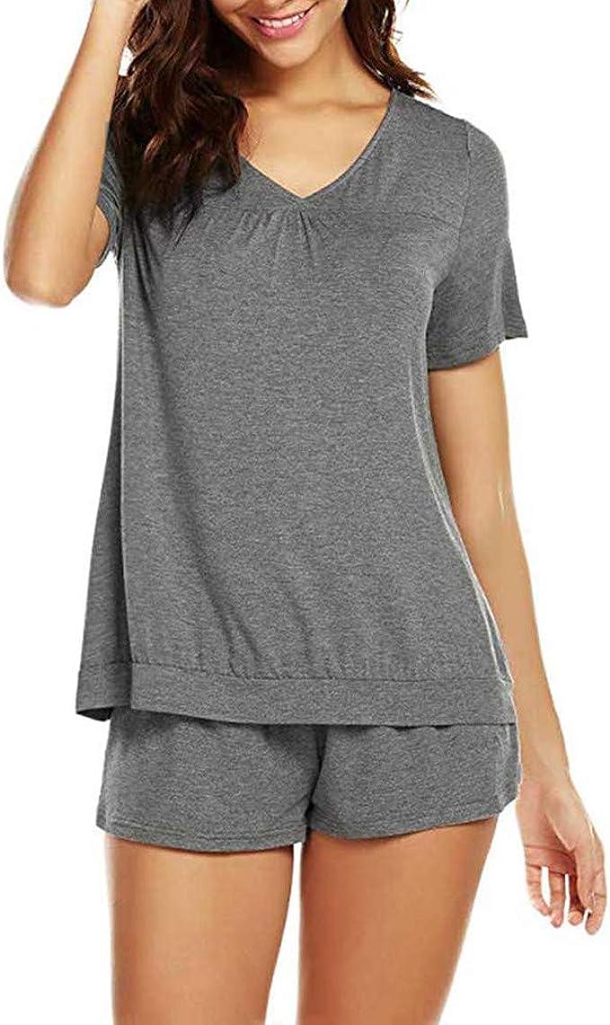 Proumy Pijama Básica Mujer Verano Camiseta Sólida con Calzoncillos Blusa Talla Grande Conjunto de Camisa Transpirable Dos Piezas de Batas Largas Ropa de Dormir Cómoda con Manga Corta: Amazon.es: Ropa y accesorios