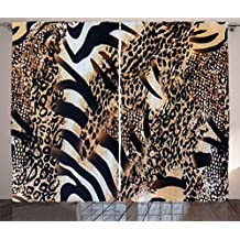 Zambia Curtains by Ambesonne, Safari Wild Striped Zebra and Leopard Pattern Camouflage Tropical Graphic, Living Room Bedroom Window Drapes 2 Panel Set, 108 W X 63 L Inches, Black Sand Brown