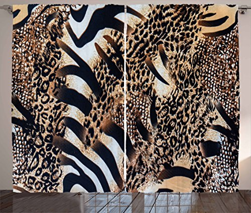 Zambia Curtains by Ambesonne, Safari Wild Striped Zebra and Leopard Pattern Camouflage Tropical Graphic, Living Room Bedroom Window Drapes 2 Panel Set, 108 W X 84 L Inches, Black Sand Brown (Tropical Style Living Room)