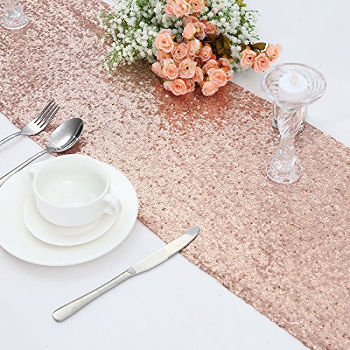 3E Home Rose Gold Sequin Table Runner for Wedding Party Brid