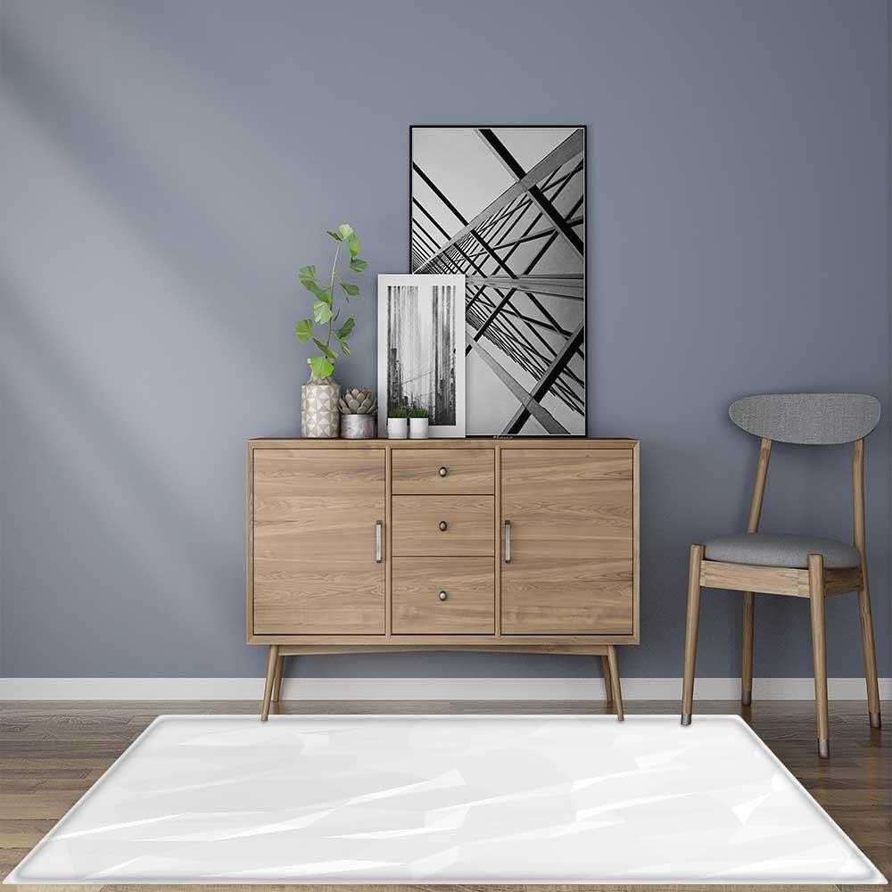 Indoor/Outdoor Floor Mat White Abstract Polygon Background. Easy Clean 24''x21''