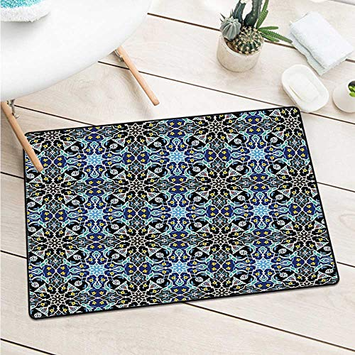 Wang Hai Chuan Moroccan Welcome Door mat Bohemian Eastern Arabic Pattern with Interlacing Lines Historical Roman Influences for entrances garages patios W23.6 x L35.4 Inch Royal Blue ()