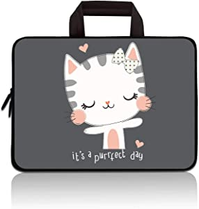 RUYIDAY 14 15 15.4 15.6 inch Laptop Handle Bag Computer Protect Case Pouch Holder Notebook Sleeve Neoprene Cover Soft Carrying Travel Case for Dell Lenovo Toshiba HP Chromebook ASUS Acer(Cute Kitty)