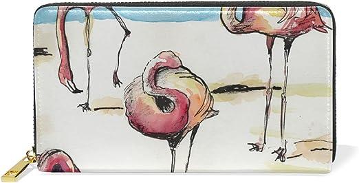 COOSUN Flamencos del Cuero Bolso de Embrague Largo Carpeta del Organizador del portatarjetas L