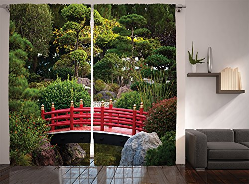 Ambesonne Apartment Decor Collection, Tiny Bridge over Pond Japanese Garden Monte Carlo Monaco Along with Trees and Plants, Living Room Bedroom Curtain 2 Panels Set, 108 X 84 Inches, Red - Over Bridge Pond