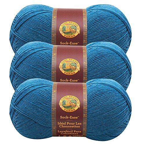 (3 Pack) Lion Brand Yarn 240-178G Sock-Ease Yarn, Snow Cone