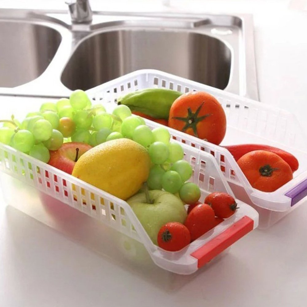 Ieasycan Set Of 2 Fridge And Freezer Storage Bin , Kitchen Tray With Handle 12-Inch by 5-Inch by 4-Inch, Clear