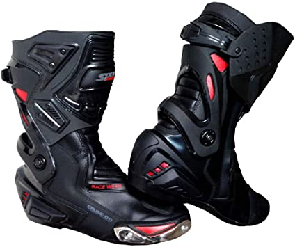 RED SPEED MAXX MOTORBIKE MOTORCYCLE CE RACING LEATHER SHOES//BOOTS MENS BLACK