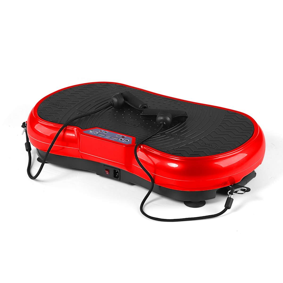 GENKI Fitness Vibration Platform Workout Machine Whole Full Body Shape Exercise Training Power Plate (Red)