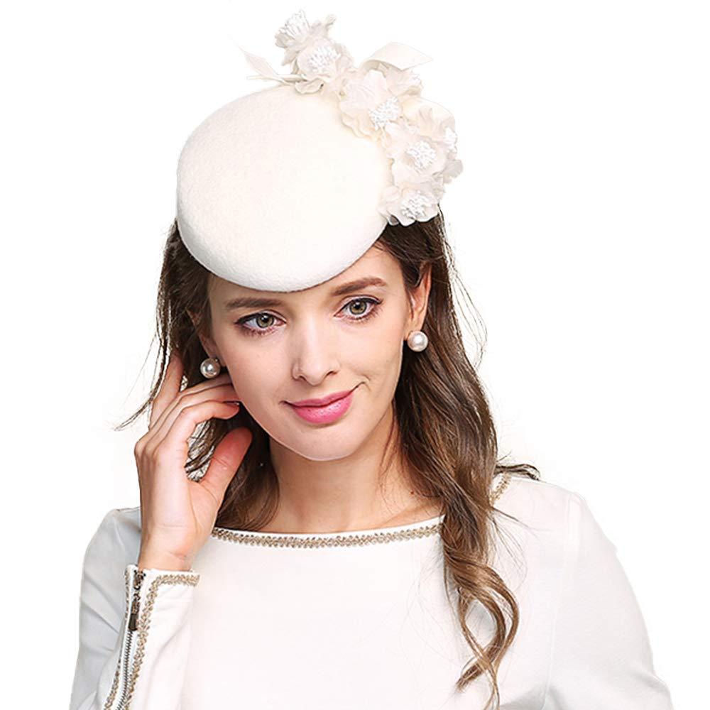 F FADVES Fascinator Pillbox Hat Womens Elegant Flowers Cocktail Tea Party Church Wedding Formal Hats White