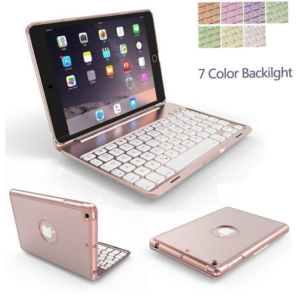 iPad Air 3rd Gen Keyboard Cover, TechCode 7 Color Backlit Wireless Bluetooth Keyboard Stand Case Folio Slim Hard Shell Smart Keyboard Case Auto Sleep/Wake for 10.5 inch iPad Air 3 2019, Rose Gold