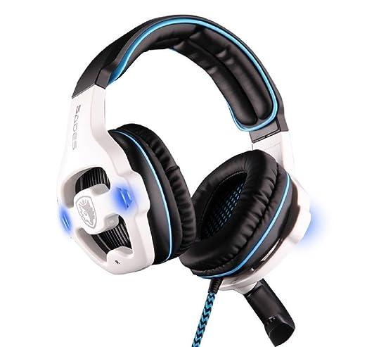243 opinioni per SADES SA-903- Cuffie USB da gaming con microfono, audio 7.1, colore: blu/bianco