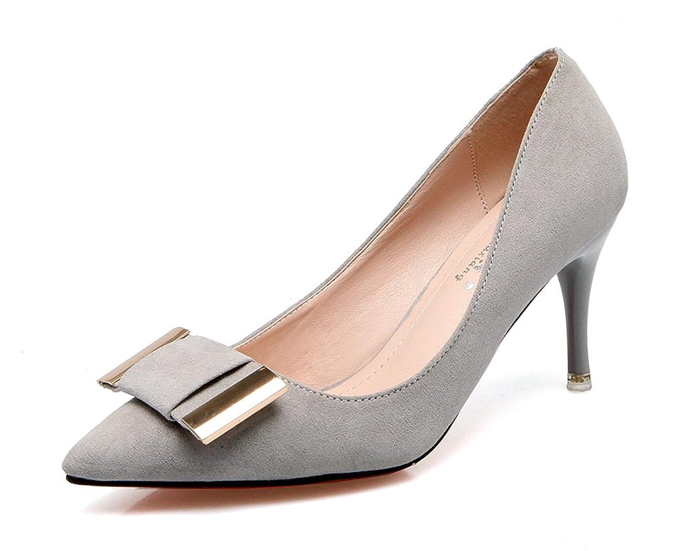 Aisun Damen Elegant Schleifen Metall Suede Low Cut Spitz Stiletto Pumps Grau 36 EU uMaQr