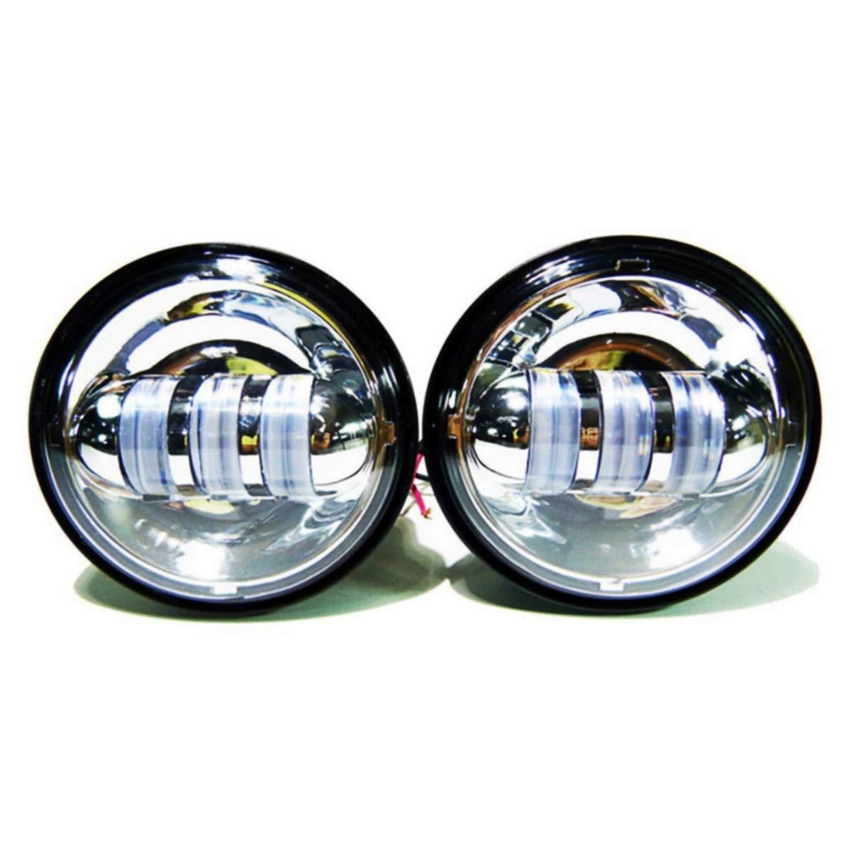 4,5-Zoll-Kompatibilit/ät mit Wrangler Harley Universal-Motorradreparaturteil YEEWEN Spare Motorrad-Galvanik-Hochleistungs-Nebelscheinwerfer in kaltem Wei/ß mit LED-Modifikation
