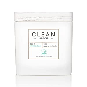 CLEAN SPACE Candle   Natural Soy Blend Scented Candle   Premium Non-Toxic Candle Made with Sustainable Ingredients   Up to 40 Hour Burn Time   8 oz
