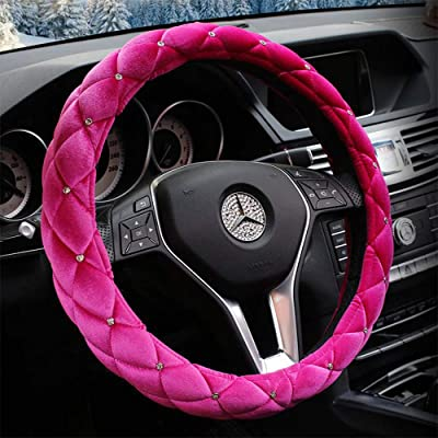 QIMEI Velvet Car Steering Wheel Cover Plush Fluffy Winter Warm Soft Auto Wheel Cushion Protector for Lady Universal 15 inch 38cm (A-Pink): Automotive