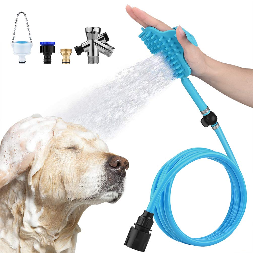 Petacc Dog Bathing Tool Pet Bath Brush Pet Shower Sprayer Pet Shower Attachment with 3 Faucet Adapters, Bathtub Outdoor Garden Compatible,Dog Cat Horse Grooming