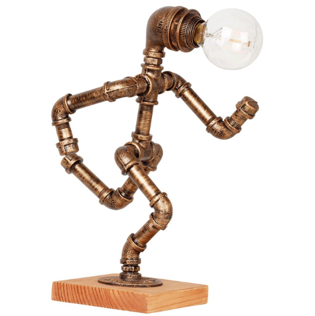 DGF Iron Art Table Lamp, Retro Cafe Bar Water Pipe Robot Table Lamp (W15cm H40cm)