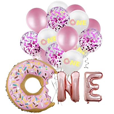 """CheeseandU Donut Party Supplies 16"""" Pink Donut One Foil Balloon 5Pcs Rose Confetti Balloons 5Pcs Rose Latex Balloons 5Pcs Printed Balloons Great for Baby 1st Bday Party Decoration Baby Shower: Toys & Games"""