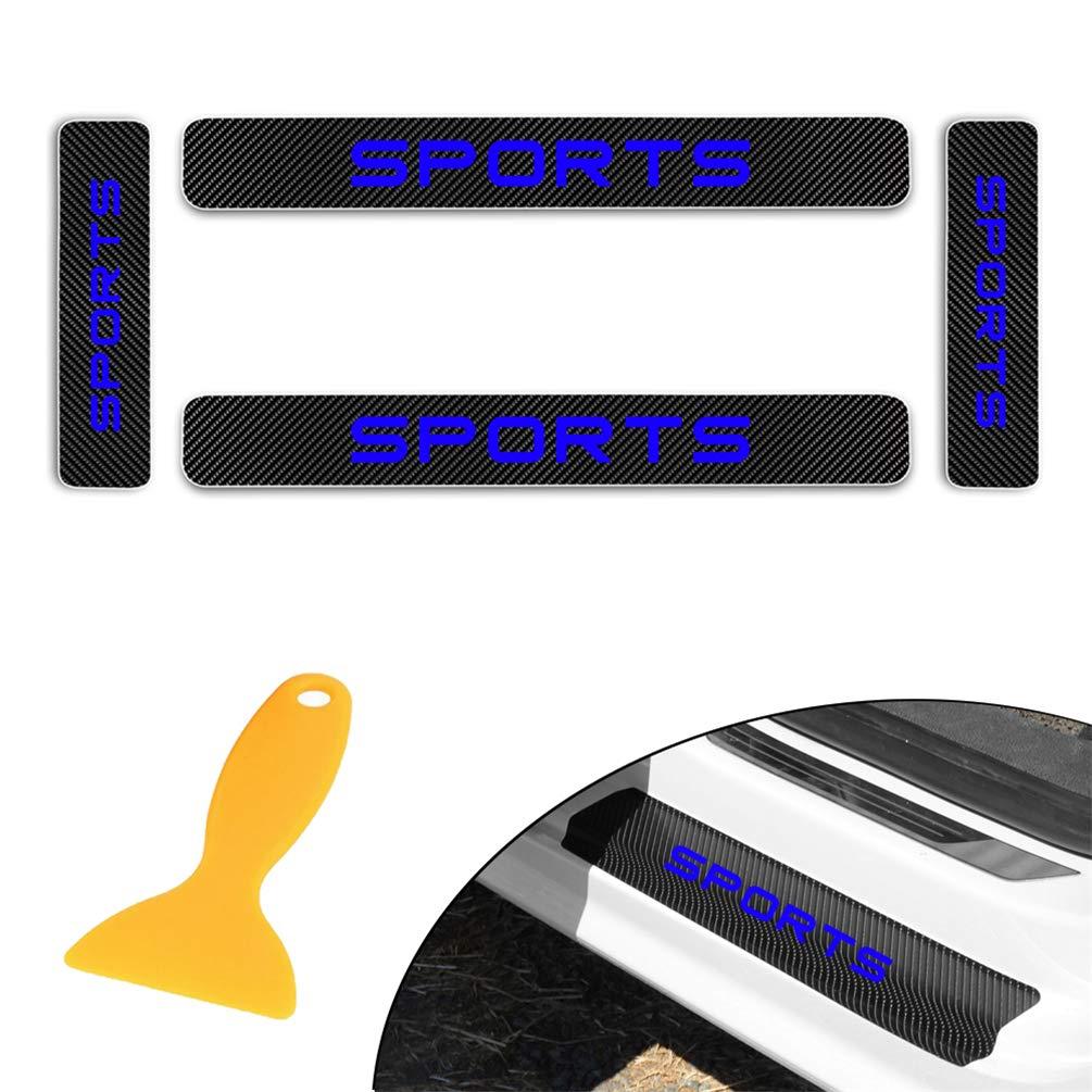 for Toyota Cruiser NX RX GX LX Yaris L Carbon Fiber Door Sill Protector Scratch Door Sill Guard 4D Welcome Pedals Guards Threshold Sticker Sticker Blue 4Pcs