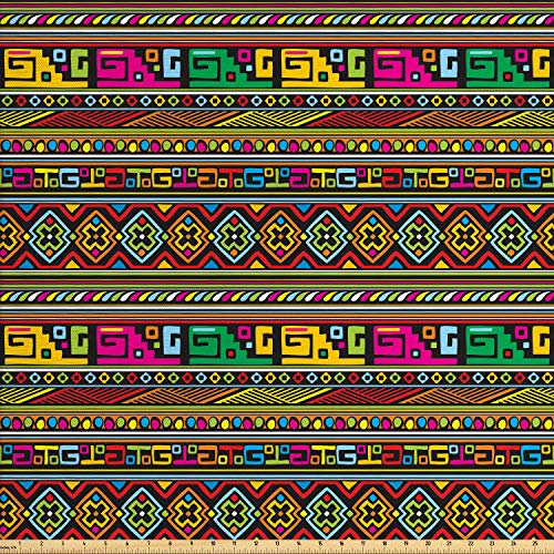 Ambesonne Tribal Fabric by The Yard, Design with Colorful Geometrical Details Borders Vector Themed Print, Decorative Fabric for Upholstery and Home Accents, 1 Yard, Multicolor