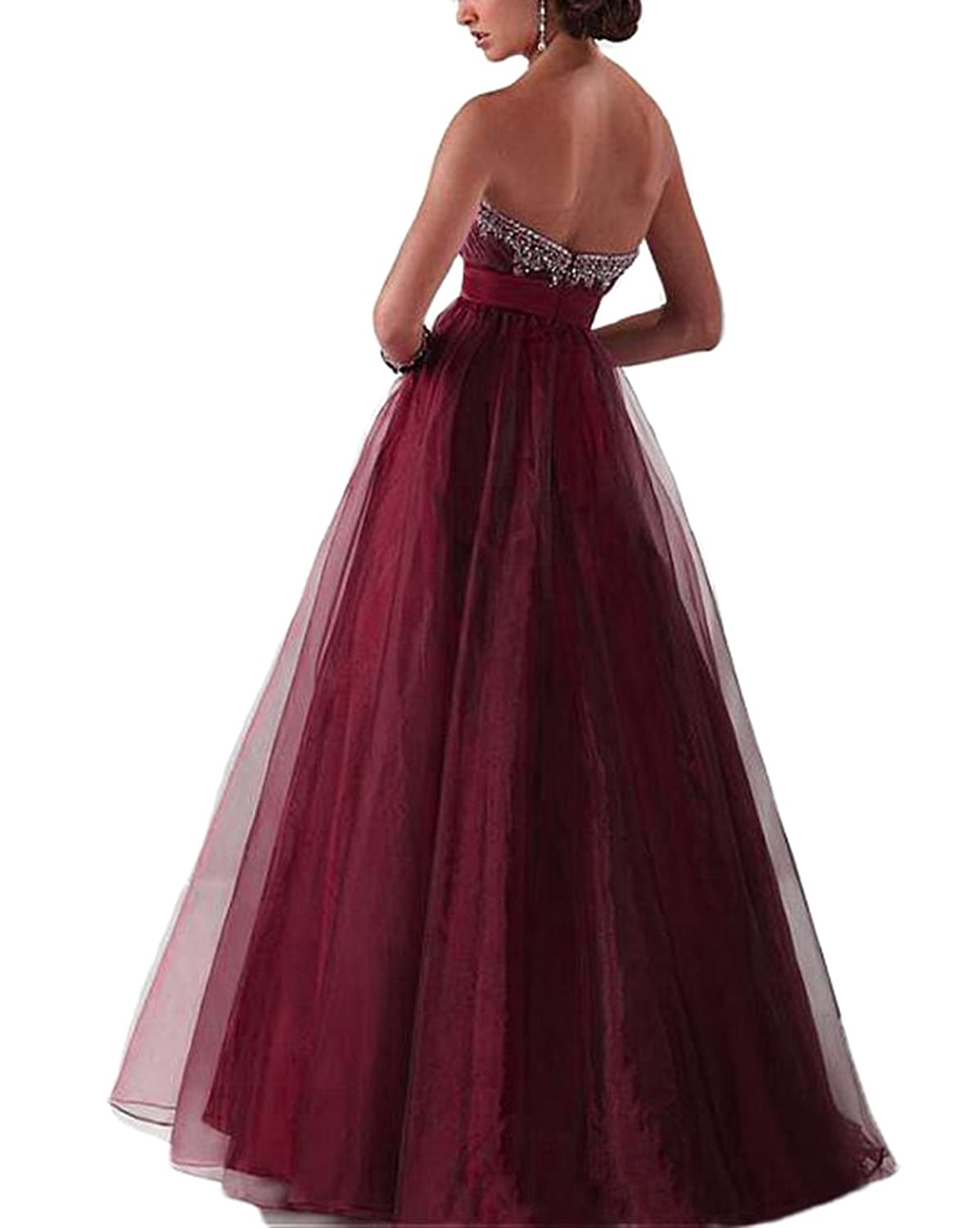 Veilove Burgundy Prom Dresses For Women Long With Beadings Burgundy Vestidos Gala Gowns at Amazon Womens Clothing store: