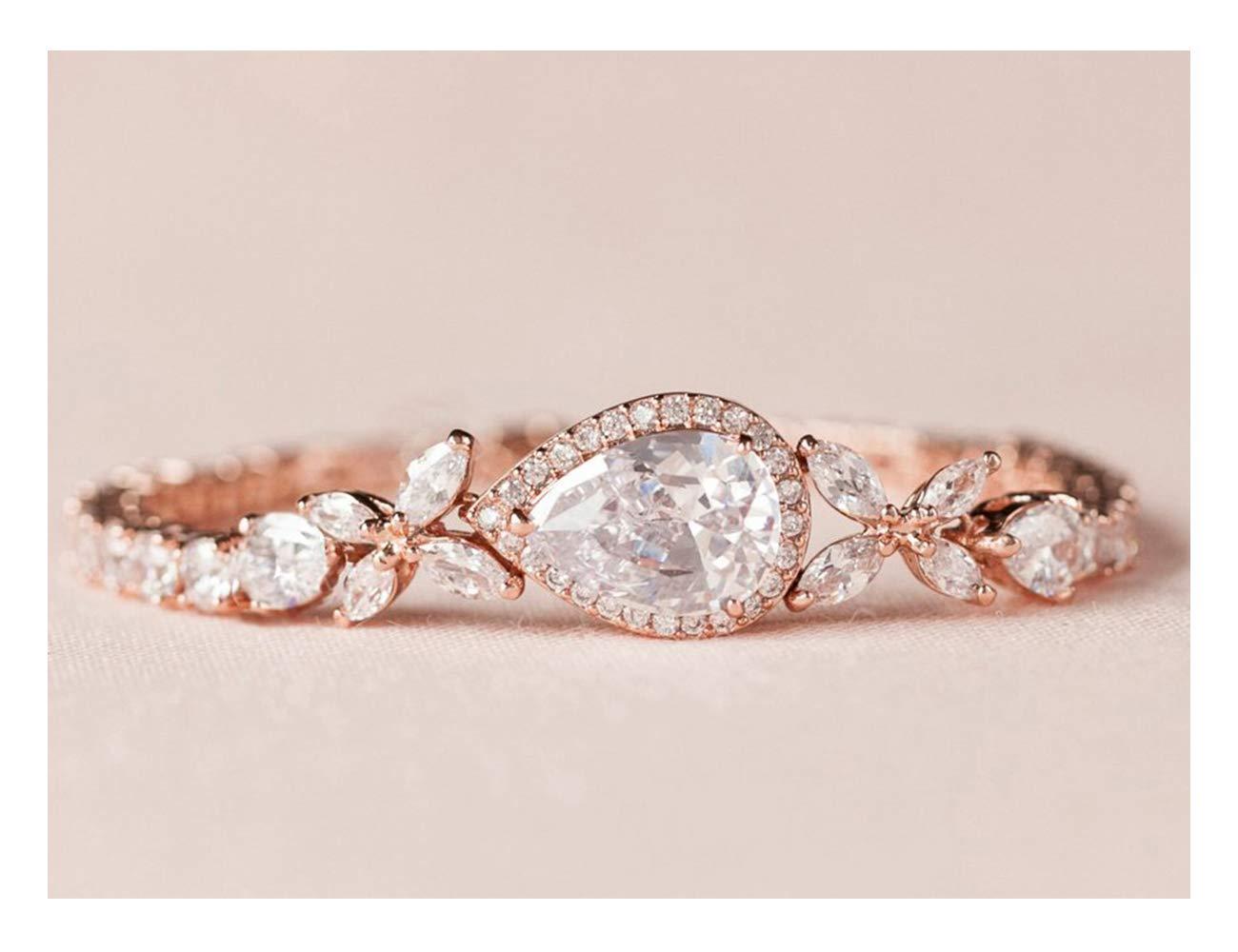 SWEETV Cubic Zirconia Teardrop Bracelets for Wedding Bridal Jewelry, Crystal Rhinestone Tennis Bracelets for Brides,Bridesmaid,Women,Rose Gold