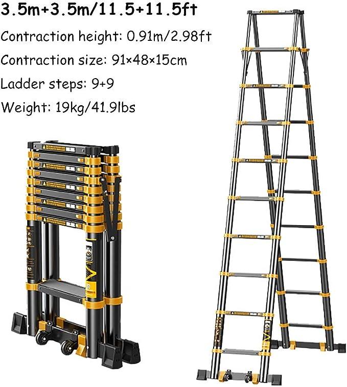 Escalera extensible Escalera telescópica Escalera Plegable De Aluminio Telescópica Para Top Escalera Loft Tejado, Ligero A-Frame De Extensión Telescópica Escalera Plegable con Barra De Soporte, 330lb: Amazon.es: Hogar