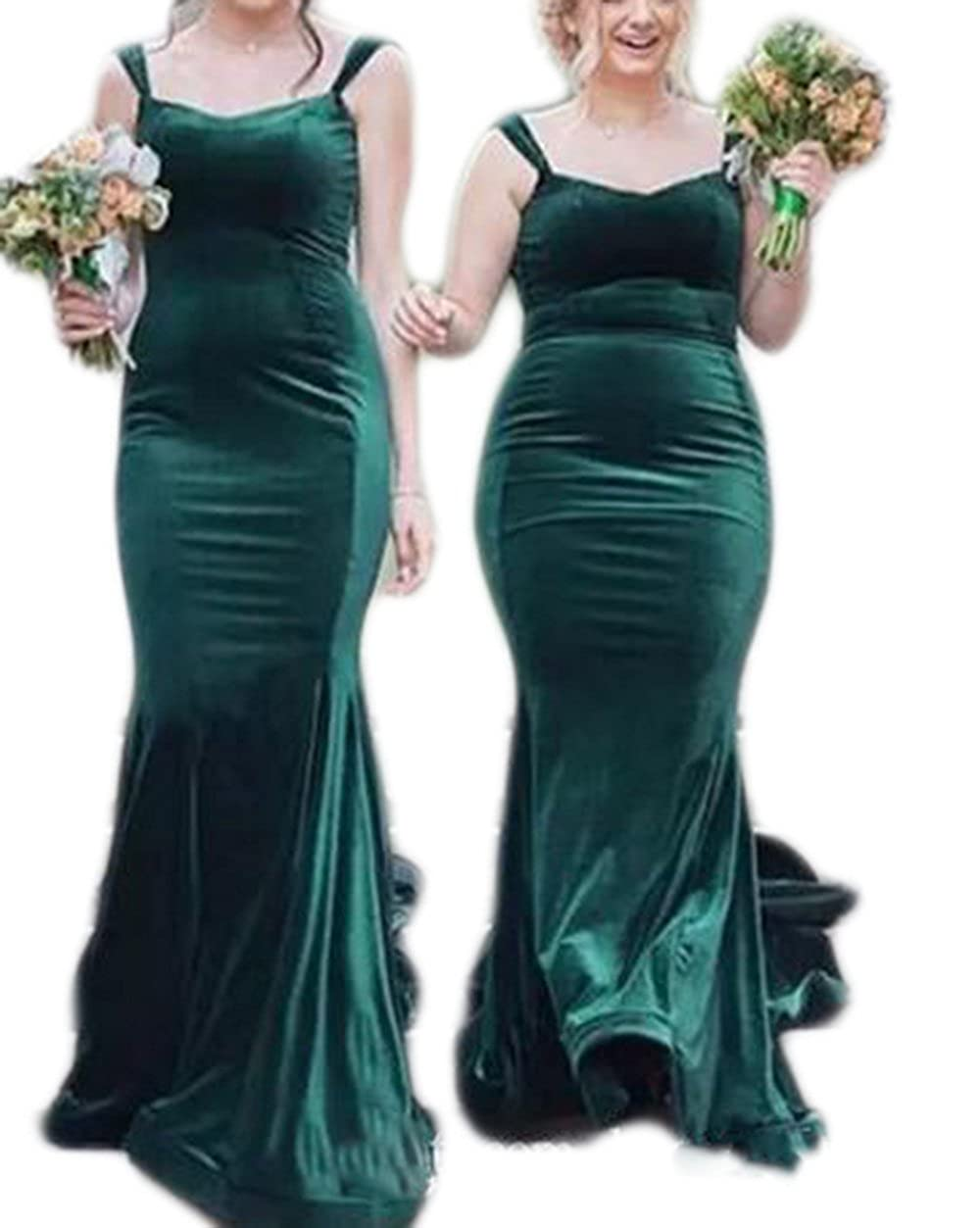 agreatvarietyofmodels crazy price shop for official Veilace Women's Hunter Green Velvet Mermaid Bridesmaid Dress Long Spaghetti  Straps Maid of Honor Gowns