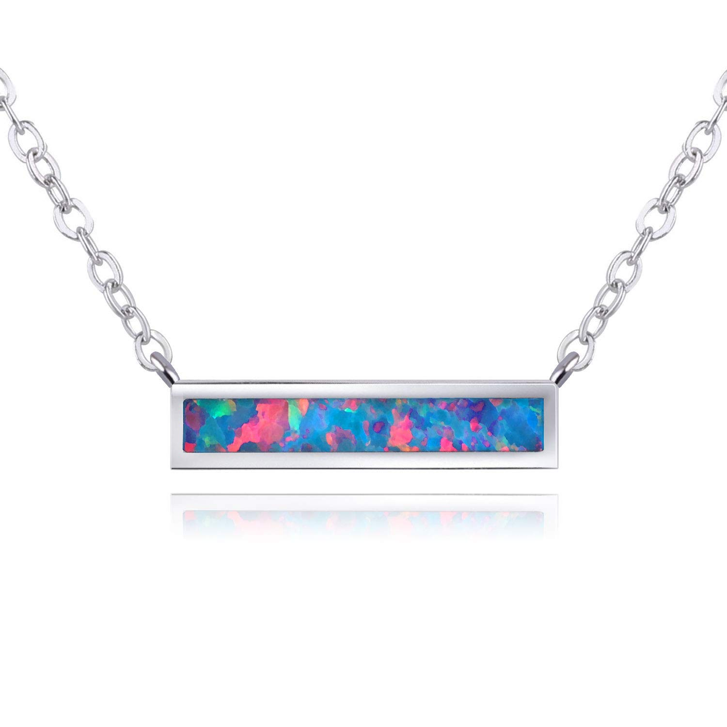 KELITCH Chic Bar Necklace October Birthstone Created Opal Choker Necklace Jewelry Gift for Women OPN-17023CK