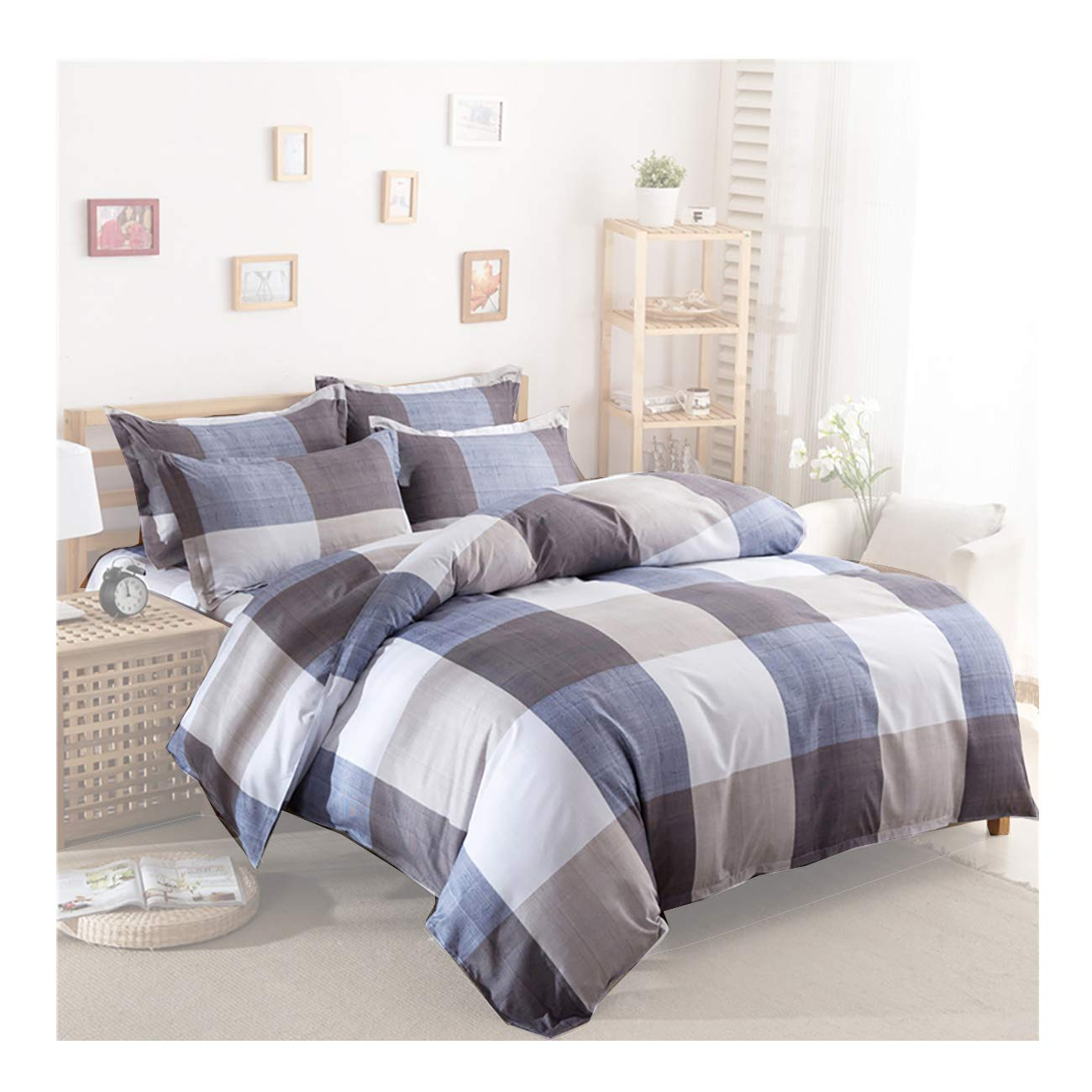 Uozzi Bedding 3 Piece Duvet Cover Set King, Reversible Printing with Brushed Microfiber, Lightweight Soft, Durable (Plaid-White&Blue&Gray, Queen)