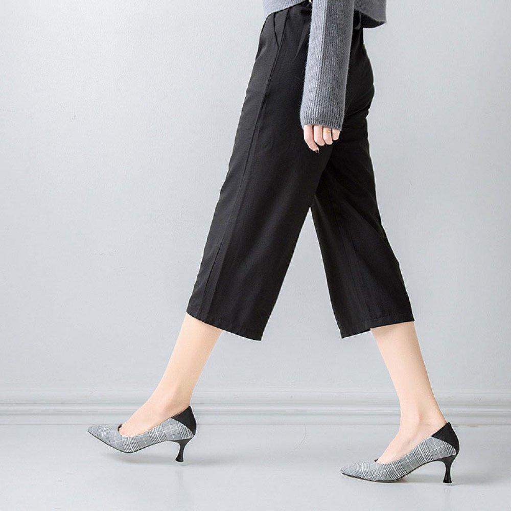Frauen High Heels Karierte Damenschuhe Spitz mit Flachen Mund Frauenschuhe Frauenschuhe Mund Mode Wild  schwarz fd8dea