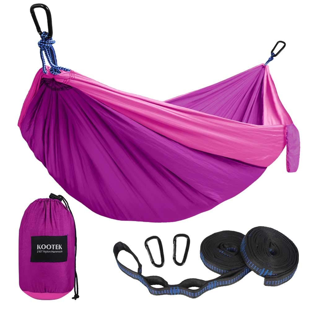 Kootek Camping Hammock Portable Indoor Outdoor Tree Hammock with 2 Hanging Straps, Lightweight Nylon Parachute Hammocks for Backpacking, Travel, Beach, Backyard, Hiking (Pink/Violet) by Kootek