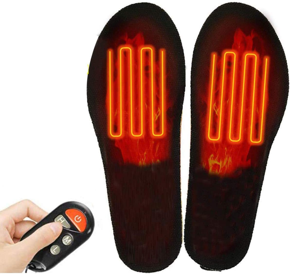 QUUY Remote Control Rechargeable Insole Adjustable Cutting Free Heated Insole Built-in Lithium Battery Electric Heating Insole Waterproof Electric Heated Feet Warmer Insole Heater
