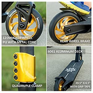 FMX Tricks Pro Scooter | Stunts Optimized Complete Freestyle Scooter Accelerates Kids or Adult Beginner to Advanced Skate Park Pro w/ Quadruple Clamp, 88A Metal Core Wheels, TPR Grips, High Rebound PU