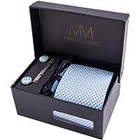 Massi Morino - Cravatta motivo cachemire - Elegante confezione regalo con cravatta, fazzoletto da taschino, gemelli e fermacravatta. Cucito a mano in microfibra