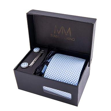 Massi Morino ® Set de corbata (caja regalo para hombres) Corbatas de hombre y pañuelos + gemelos + clip de corbata