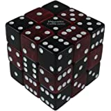 MagneticCube 3x3x3 Dice Puzzle: Mixed Black Opaque and Red Translucent (Squared Corners)