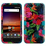 ZTE ZFive C LTE Z558VL Case - TUFF Series [Military Grade Drop Tested - MIL-STD 810G-516.6] Heavy Duty Shock Resistant Protective Case (Hibiscus Flowers) and Atom Cloth for ZTE ZFive C LTE Z558VL