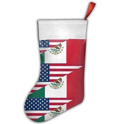 Mexicano Bandera Americana baratos Navidad medias calcetines calcetín de Navidad personalizada Merry Christmas