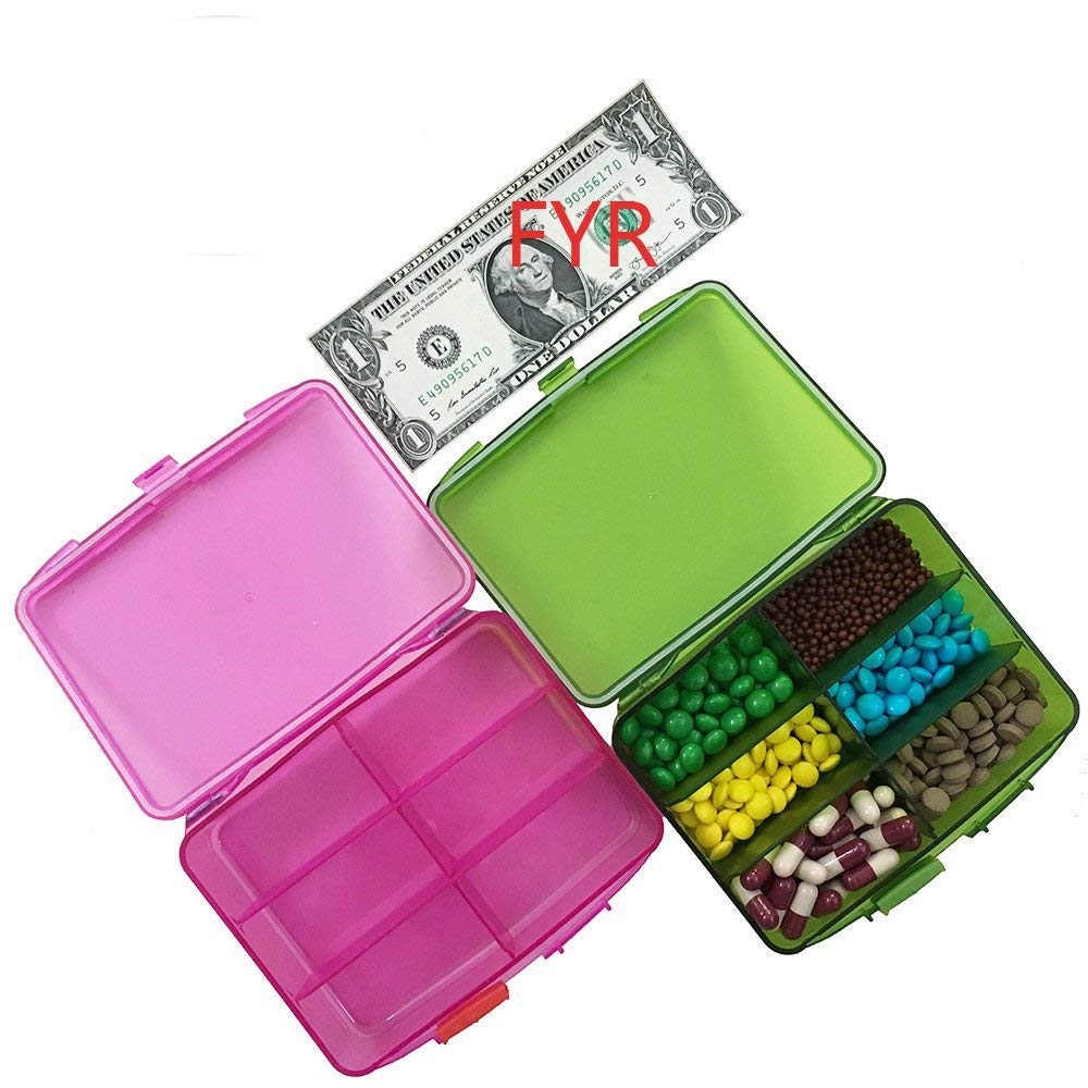 Pill Organizer 6 Compartments Travel Portable, Pill Case for Purse High Quality, Pill Box for Vitamin 2Pcs