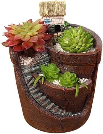 ZHIPENG Maceta, jardín Secreto aéreo Micro Paisaje Resina Resina Maceta Maceta Bonsai DIY decoración jardín decoración del hogar: Amazon.es: Hogar