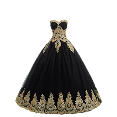 Butalways Ball Gown Princess Prom Dresses Long With Gold Appliques Formal Quinceanera Dress Black 2