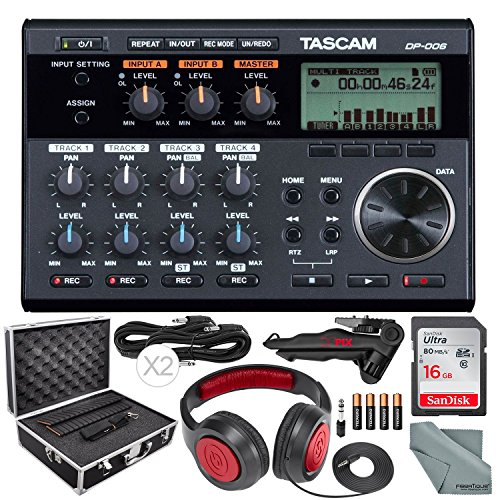 - Tascam DP-006 6-Track Digital Pocketstudio and Deluxe Accessory Bundle w/Headphones + Case + Cables + 16GB + Xpix Tripod + More