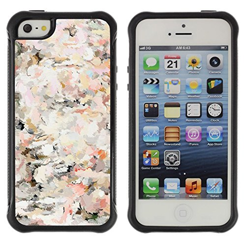 All-Round Hybrid Rubber Case Hard Cover Protective Accessory Compatible with Apple iPhone 5 & 5S - floral vintage vignette wallpaper flowers