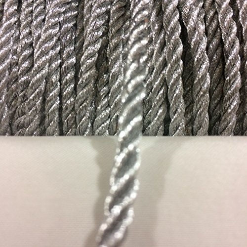 4 mm Metallic Silver twist cord, braided cord Shiny Cord Choker Thread Twine String Rope Piping Supplies Price per 6 yards Silver Braided Trim