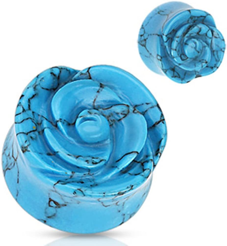 PAIR Opalite Semi Precious Stone Rose Carved on Single Side Double Flared Plugs