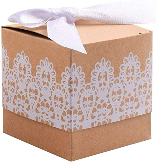 Kingsley 50pz Caja de Regalo de Boda Encaje Caja bomboneras Vintage Papel Kraft Candy Cajas de Regalo, Termal para con Cinta para Boda rústico Navidad Cumpleaños Bautizo Graduación: Amazon.es: Hogar