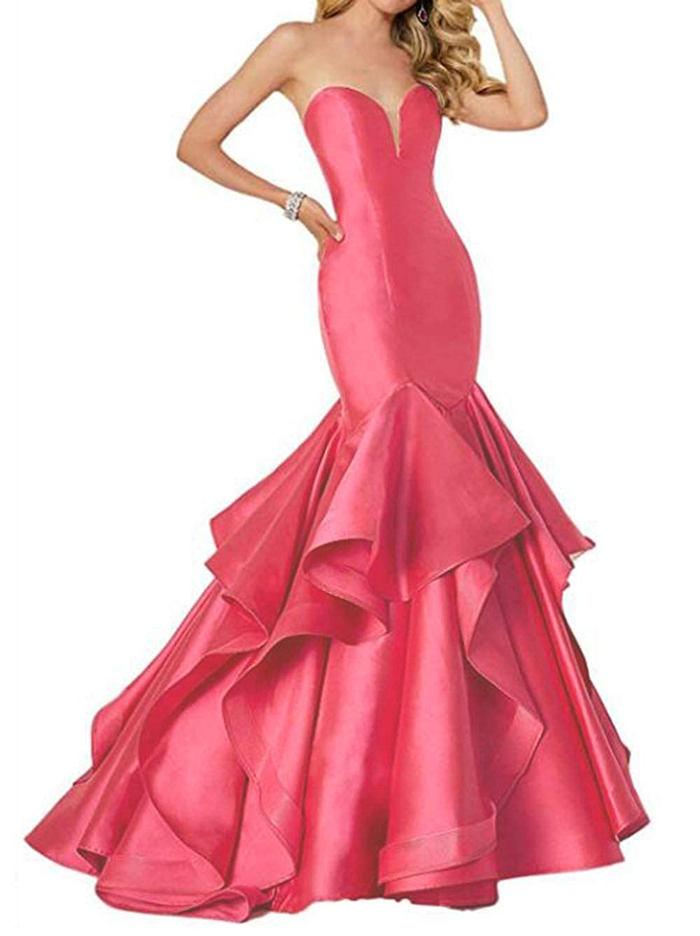Watermelon alilith.Z Sexy Sweetheart Prom Dresses Mermaid Tired Satin Train Formal Evening Dresses Party Gowns for Women 2019